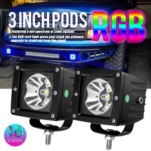 Pair 3inch Cree Led Work Light Pods Rgb Halo Multi color Change Chasing Polaris