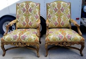 Pair Large Arm Chairs Carved Wood Clean Vibrant Baroque Rococo Renaissance Spain