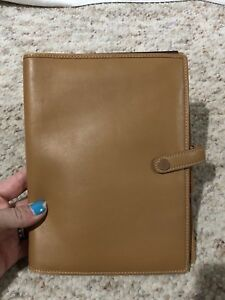 Coach Portfolio Folio Brown Leather Business Notepad Organizer Full Size Folder