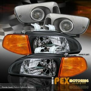 For 92 95 Civic Hatch Coupe Jdm Black Headlight Amber Signal Light Fog Lamp