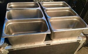 6 Pack 1 3 Size Stainless Steel Steam Buffet Prep Table Food Pan 6 Deep