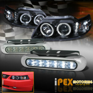 1999 2004 Ford Mustang Black Halo Projector Headlight Led Drl Driving Fog Lamp