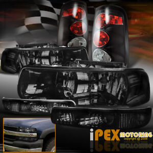 1999 2002 Chevy Silverado 1500 2500hd Smoke Headlights signals black Tail Lights