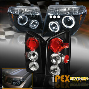 For 2005 2007 Nissan Pathfinder Halo Projector Led Headlights Tail Light Black