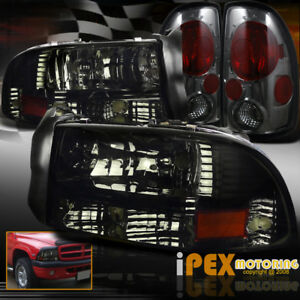1997 2004 Dodge Dakota Shiny Smoke Headlights W Signal Lamp Smoke Tail Lights