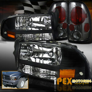1997 2004 Dodge Dakota Black Headlights W Turn Signals Smoke Tail Lights Set