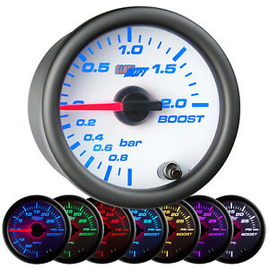 52mm Glowshift White 7 Turbo 2 0 Bar Boost Vacuum Gauge W 7 Color Led Display