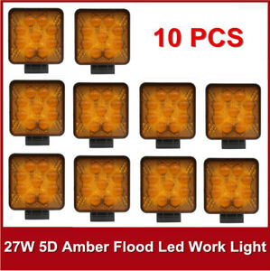 10x27w Square Led Work Light Flood Fog Lamp Jeep Offroad Boat Yellow 5d 4 Amber