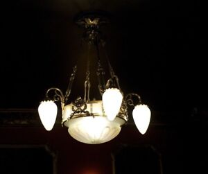 1920 S Original Antique French Art Deco Chandelier With 4 Drop Lights To Match