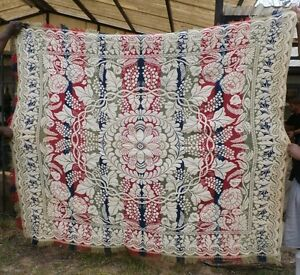 Antique Jacquard Wool Woven American 3 Color Coverlet Mid1800 S Ohio Signed Nb
