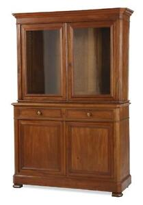 Antique French Walnut Cabinet Deux Corps Louis Philippe 2 Glass Doors 72 H