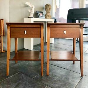 Mid Century Modern Pair Of Drexel Profile Night Stands