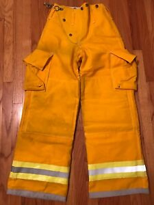 Globe Firefighter Turnout Pants Bunker Gear With Liner 26 X 30 Yellow Nomex Iii