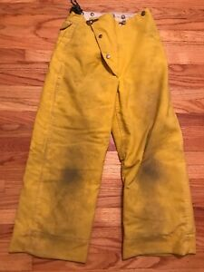 Globe Firefighter Turnout Pants Bunker Gear With Liner 26 X 30 Yellow