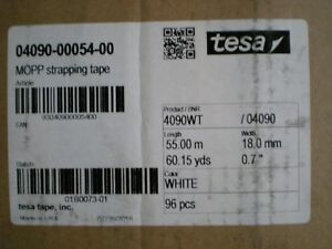 A Case Of 96 Rolls 4090 White Tesa Strapping Tape 7 X 60 Yards 18 Mm X 55 M