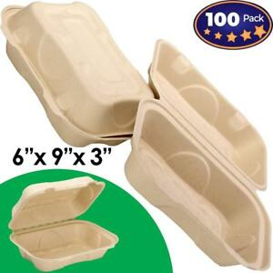 Biodegradable 6x9 Take Out Food Containers With Clamshell Hinged Lid 100