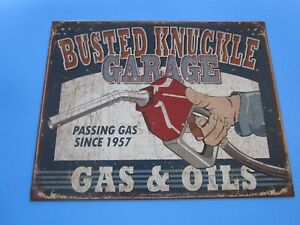 Tin Metal Gasoline Service Station Man Cave Advertising Decor Gas Oil Busted
