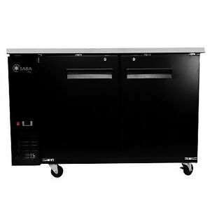 New Black 2 Doors Back Bar Beer Bottle Refrigerator Cooler 59 X 27 D Casters