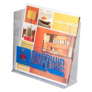 Clear ad Lhf s150 Acrylic Free Standing Bifold Brochure Holder Up To