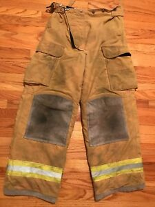 Lion Body Guard Firefighter Turnout Pants Bunker Gear 38 X 32 With Liner