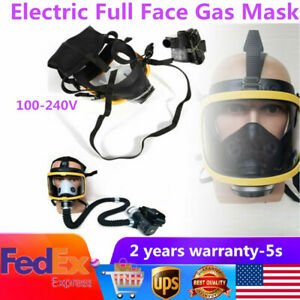 Electric Constant Flow Supplied Air Fed Full Face Gas Mask Respirator System usa