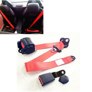 3 Point Vehicle Seat Belt Red Fully Adjustable Hardware W Quick Release Camlock