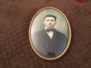 Vintage Oval Metal Picture Frame With Bubble Glass