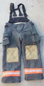 Used Fire dex Pants Suspenders 42x32 Fireman Firefighter Clothing Turnout Gear
