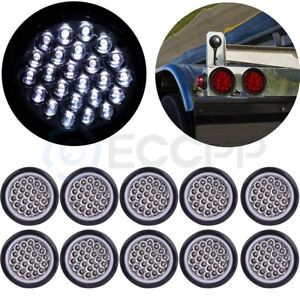 10pcs 4 White Round 24 Led Trailer Truck Side Marker Clearance Lights Tail Lamp
