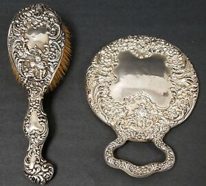 Antique Unger Bros Sterling Silver Repousse Hand Mirror Brush Set With Angels