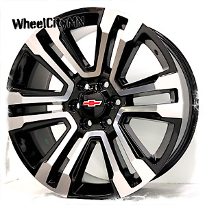 22 X9 Inch Gloss Black Machine 2018 2017 Chevy Tahoe Ltz Oe Replica Wheels 6x5 5