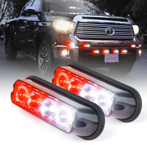 Red White Led Emergency Patrol Deck Dash Surface Mount Grille Strobe Light 2pc