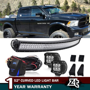 For 93 98 Jeep Grand Cherokee Zj Roof Curved 52 Led Light Bar 2x Pod Lights