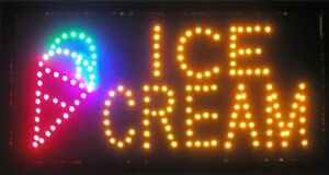 Flashing Motion Led Business Ice Cream Shop Sign on off Switch Open Light Neon