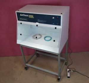 Airclean 2000 Workstation 40 Fume Hood Cabinet W Light stand fluid Pump filter