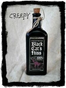 Primitive Grubby Witch Glass Bottle Spells Potions Black Cat S Hiss Wicca