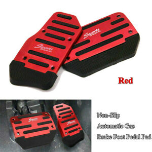 2pcs Red Car Auto Racing Pedal Brake Gas Pad Aluminum Cover Automatic Universal
