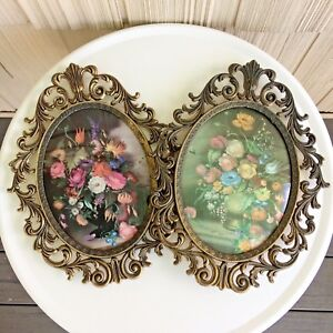 2 Convex Bubble Glass Frames Oval Floral Pictures Ornate Brass Vtg Italy 13 X 10