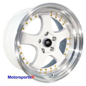 Mst Wheels Mt07 17 X 9 20 White Deep Lip Rims 5x114 3 Stance 15 Honda Civic Si