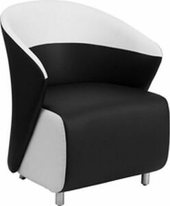Black White Leather Lounge Reception Contemporary Chair Free Shippng Lot Of 1