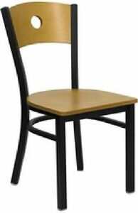 New Metal Designer Cafe Restaurant Chairs W Wood Seat