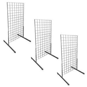 3 Set Square Gridwall 2 X 4 Grid Panel Floorstanding Wire Board Shelving Stand