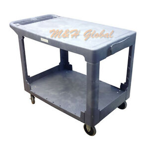 Large 2 Shelves Plastic Service Utility Cart 26 X 36 Top Shelf