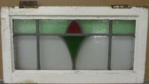 Mid Sized Old English Leaded Stained Glass Window Abstract Floral 25 25 X 13 5