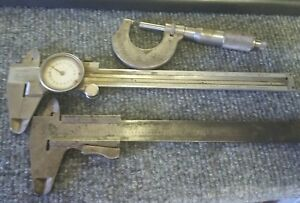 Vintage German Helios Dial Calipers 16cm And 0 1 Micrometer Additional Caliper