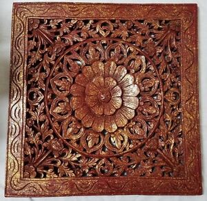 Antique Chinese Hand Carved Wood Panel Flower Gilt Flecked 24 By 23 1 2