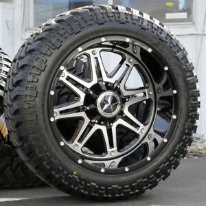 22 Black Lonestar Outlaw Wheels 35 Tires 8x6 5 22 Inch Rims Fits Chevy Hd