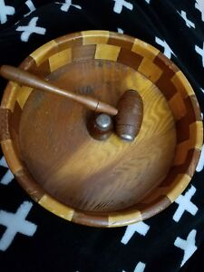 Vintage Large Wooden Nut Bowl With Matching Mallet
