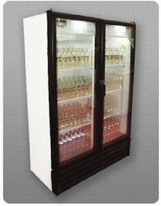 New 2 Full Door Glass Display Cooler Refrigerator 28 Cu Including A Set Casters