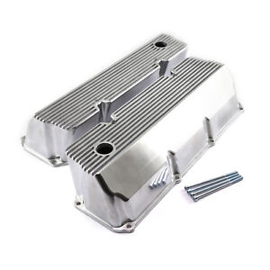 Fits Ford 302 351c Cleveland Polished Aluminum Finned Valve Covers Tall W hole